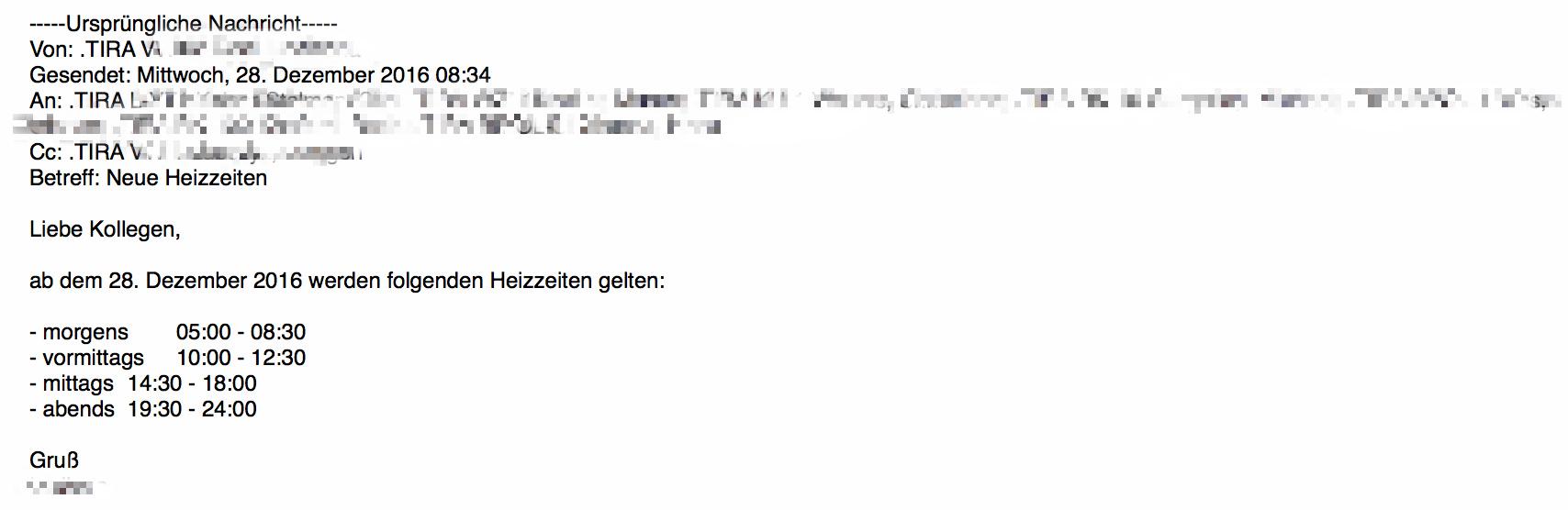 E-Mail-Ankündigung der neuen Heizzeiten