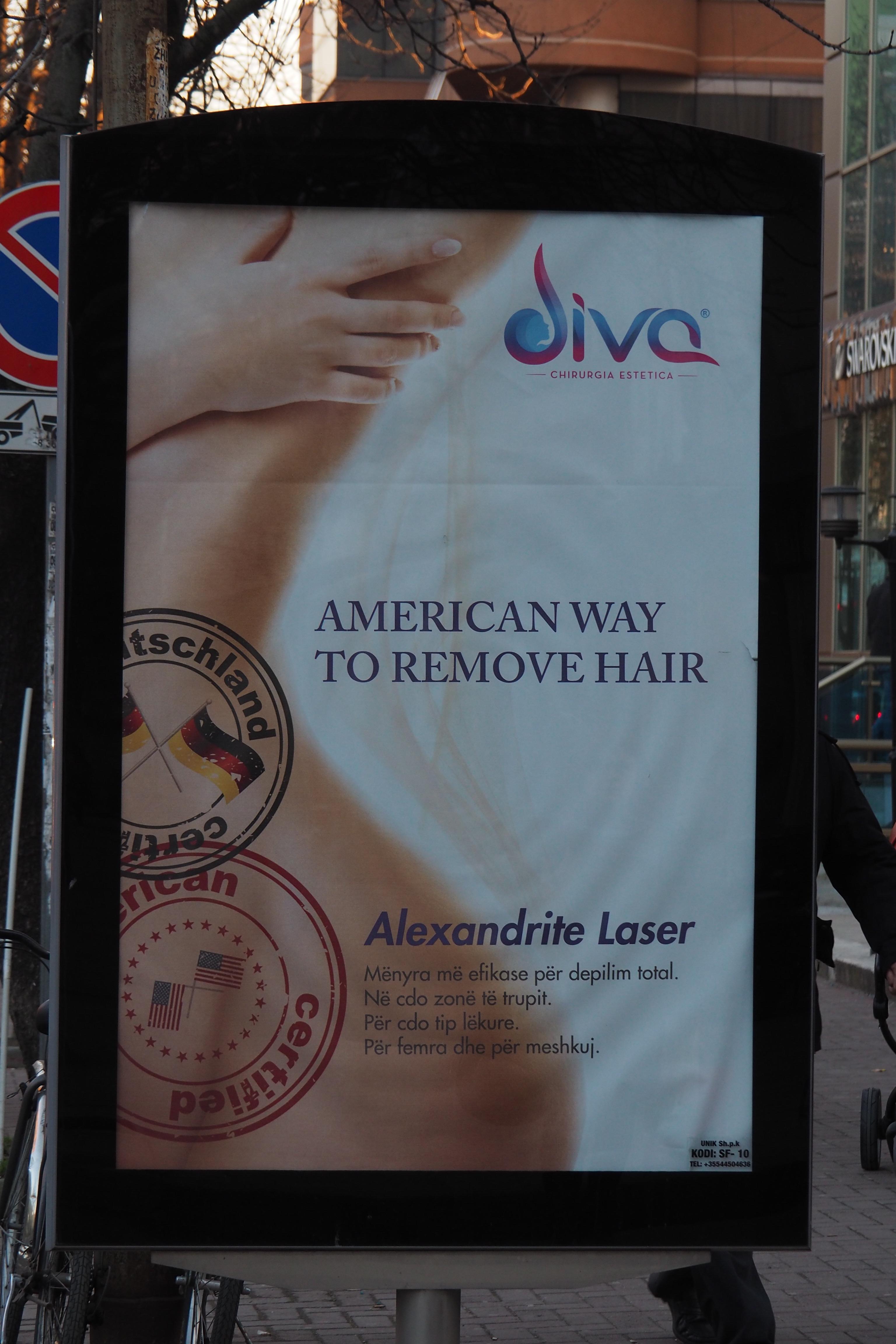 Plakatwerbung für Schönheitsprodukte aus USA, Deutsch zertifiziert